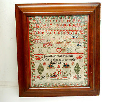 Antique Framed Embroidery Sampler Jane Kirkland Cruickshank Aged 8 Aberdeen 1856