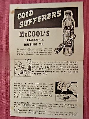 Mcool's Inhaleant & Rubbing oil Advertising Flyer