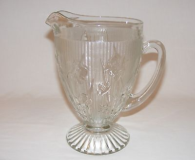"VINTAGE 1930's Jeannette Glass IRIS and HERRINGBONE 9"" Tall PITCHER JUG"