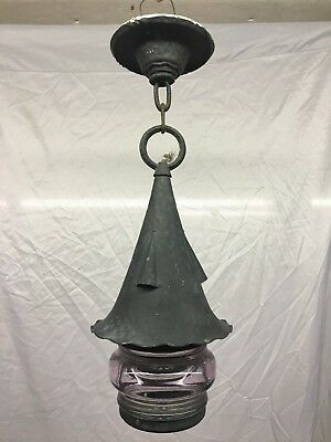 Antique Copper Porch Light Ceiling Witches Hat Fixture vtg Thick Glass   2-18J