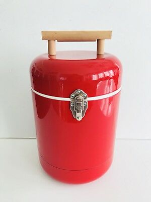 VTG. COCA-COLA? (Blank) Red Round Metal Canister Thermal Cooler SUPER CUTE MINT