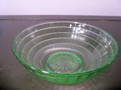 "Anchor Hocking BLOCK OPTIC Green Depression Glass 8"" Berry Bowl"