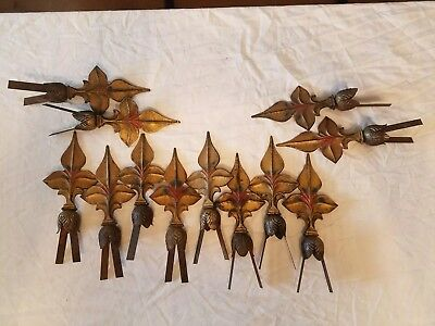 Antique Cast Iron Fleur De Lis fence Finials, w/pole attachment  Lot of 12