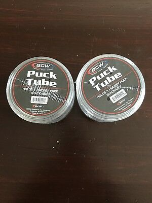 (4)BCW Hockey Puck Round Tube Display Case Holders 2-twin packs