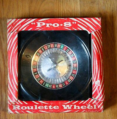 Vintage Plastic Pro 8 Roulette Wheel Original Box with Betting Sheet Cardinal