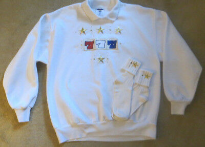 JERZEES ACTIVEWEAR White Sweatshirt & Matching Socks~~~Size Large