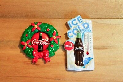 Two 1996 Plastic Coca Cola Magnets Christmas Wreath Ice Cold Thermometer