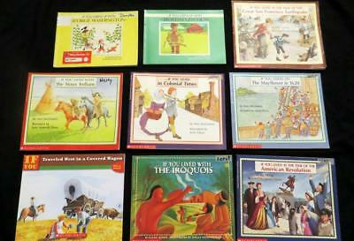 9 IF YOU LIVED CHILDREN'S PICTURE BOOK LOT US History set Lincoln Indian Wagon