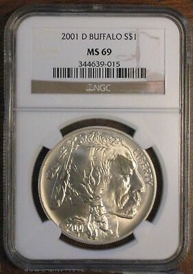 2001-D American Buffalo Commemorative Silver Dollar ~ NGC MS 69