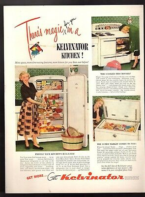 Original 1949 Vintage Print Ad Kelvinator Kitchen Appliances