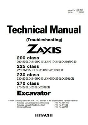 Hitachi Zaxis 200 225 230 270 Technical Troubleshooting  Manual Reprinted