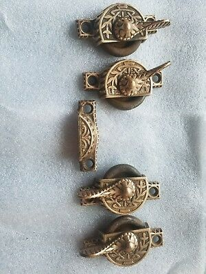 Lot of 4 ANTIQUE VICTORIAN CAST IRON WINDOW SASH LOCK LATCHES BRASS KNOB