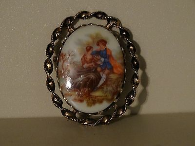 Antique Beautiful Porcelain Pin Great Condition