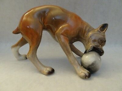 Porcelain Boxer Playing With Ball Dog Figurine,no Label,charming, Ex. Cond.