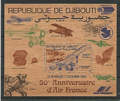 Djibouti Dschibuti 1983 50 years airline Air France WOODEN STAMP Holz Block MNH