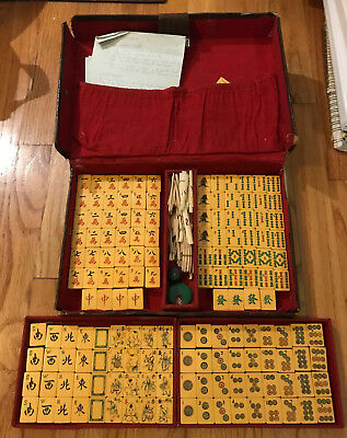 Vintage Chinese Bakelite Mah jong set - beautiful boys with peaches tiles!
