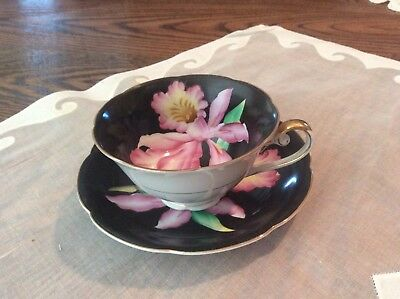 Antique Made In Occupied Japan Pink Orchid With Black Tea Cup & Saucer EUC