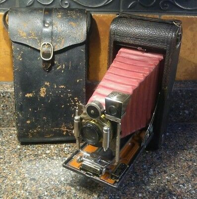 Antique Eastman Kodak No 3-A Folding Pocket Kodak Model B-4; Red Bellows