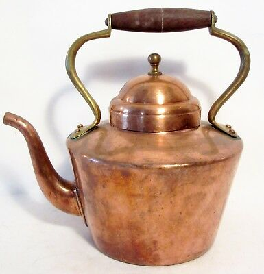 Vintage Copper Tea Pot W/ Brass & Wood Handle ~ It Is Marked B & M Portugal