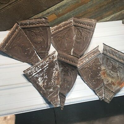 "4pc Set matching corners 14"" Antique Ceiling Tin Vintage Reclaimed Salvage Art"