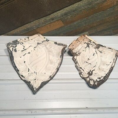 "2pc Set matching corners 14"" Antique Ceiling Tin Vintage Reclaimed Salvage Art"
