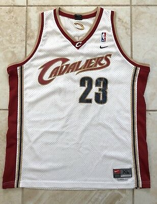 CLEVELAND CAVALIERS LEBRON JAMES jersey mens XL +2 NIKE sewn stitched WHITE RED
