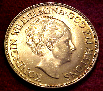 1925 Netherlands 10 Gulden Gold .......bu............min. Bid .01 & No Reserve!