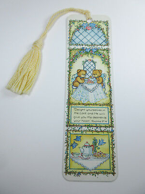 Vintage 1996 Bookmark Lucy & Me Lucy Rigg Teddy Bear Tea Party Psalms 37:4