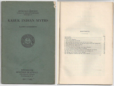 1932 Smithsoinian Institution Booklet On Karuk Indian Myths Northern California