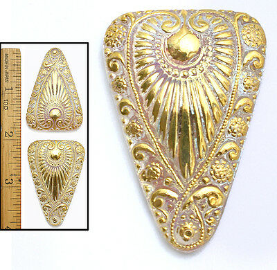 XL 45mm Vintage Czech Glass Egyptian Revival GOLD AURORA Triangle RAY Buttons 2
