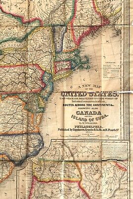 1854 Folding Map Of The United States Including California & West + Book