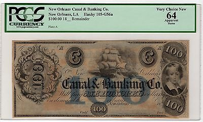 $100 Obsolete Currency, New Orleans Canal Banking, PCGS 64 App, Haxby 105-G56a