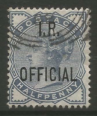 """STAMPS-GREAT BRITAIN. 1885. ½d Slate Blue. Ovpt """"IR OFFICIAL"""" SG: O5. Fine Used"""