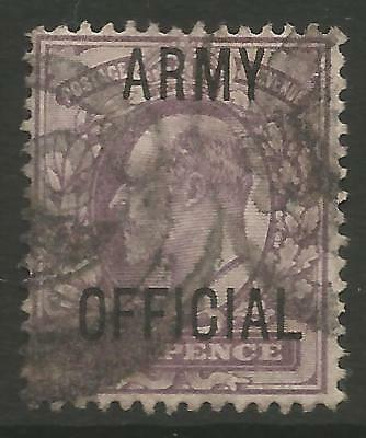 "STAMPS-GREAT BRITAIN. 1902. 6d Purple. Ovpt ""ARMY OFFICIAL"" SG: O50. Good Used."