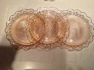 Pink Old Colony Open Lace Dinner Plates Hocking Glass Co. SET OF 3