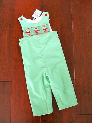 NWT Boutique Orient Expressed Boys Sz 3 Green Multi Smocked Santa Claus Outfit S