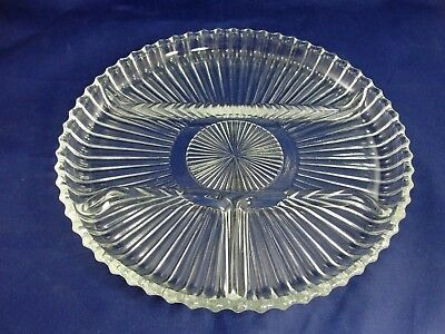 """Indiana Glass Divided 4-Part Clear Relish Dish Plate 10"""" Ribbed Vintage"""
