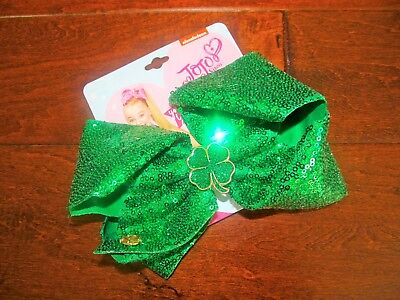 NEW Boutique JoJo Siwa Girls Large St. Patrick's Green Sequin 4 Leaf Clover Bow