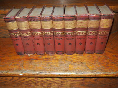 Antique Lot of 9 Charles Dickens' Works Hurst & Company Rare Ornate Covers