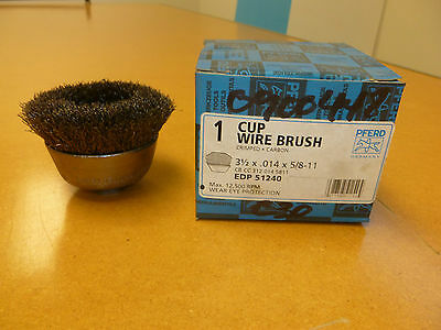 """NEW Wire Cup Brush Crimped EDP 51240 Carbon 3-1/2"""" x .014"""" x 5/8-11"""""""