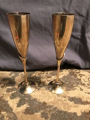 """Lot of 2 INTERNATIONAL SILVER CO. HANDMADE BRASS 9"""" CHAMPAGNE FLUTE ~ INDIA"""