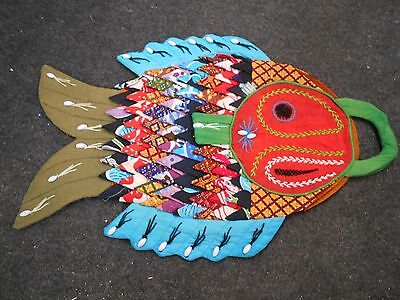 nolvelty fun ! vintage cotton beaded embroidered quilted Fish market bag purse
