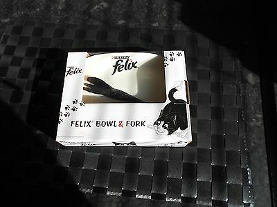 Felix Cat Bowl & Fork New & Boxed Black & White with a touch of Red Great Gift