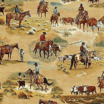 Cattle Drive Longhorn Western fabric  By the yard Cotton print
