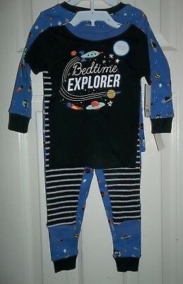 nwt-Carters-Boy-4 Piece-Cotton-Pajama Set-24 mo-Glow in the Dark-Bedtime Explore