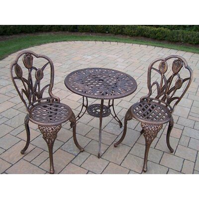 Oakland Living Tulip Cast Aluminum 3-Piece Bistro Set with 26-Inch Table, Bronze