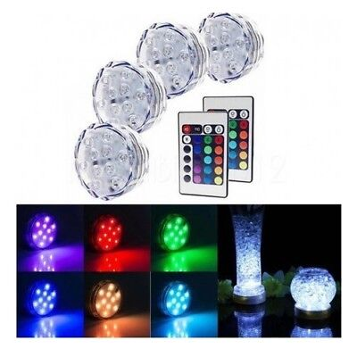 Submersible LED Under Water Accent Lights Remote Control Pool Fountain Set Of 4