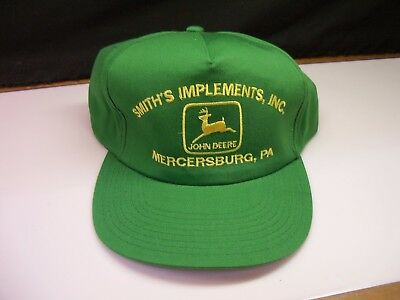 John Deere Green Hat Smith's Implements Inc Vintage Old Store Stock New w/ Tag