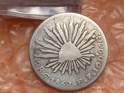 Mexico 1859 / 7 Overdate  9 over 7 Silver 2 Reales Go PF #1
