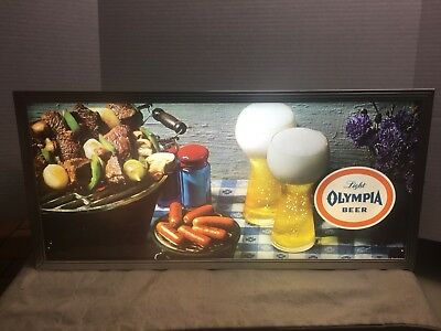 Vintage Rare Olympia Beer Lighted Wall Motion Sign Back Bar Man Cave